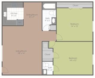 2 Bedroom 1.5 Bath floor plan image 820 sq ft
