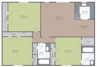3 Bedroom 2 Bath floor plan image 1055 sq ft
