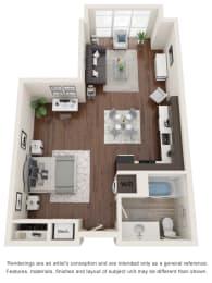 Floor Plan  Studio three-dimensional floor plan layout. Bathroom to the right of the entry door.