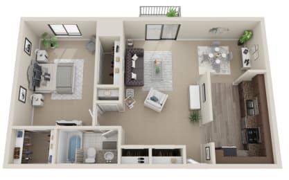 Floor Plan  One bedroom 3D floorplan