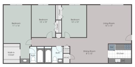 3 bedroom 2 bath layout