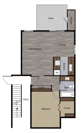 One Bedroom Floorplan at St. Charles Oaks Apartments, California, 91360