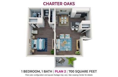 Floor Plan One Bedroom Plan 2