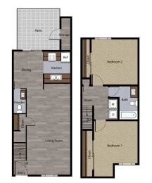Two Bedroom Townhome Plan E Floorplan at St. Charles Oaks Apartments, Thousand Oaks, California