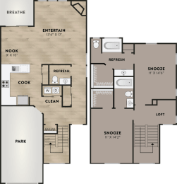 2x2.5 - 2 Bedroom 2.5 Bath Floor Plan Layout - 1442 Square Feet