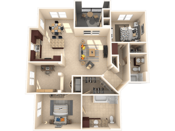 Sequoia – 2 Bedroom 2 Bath Floor Plan Layout – 1371 Square Feet