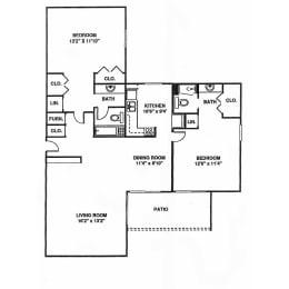 2 bed 2 bath 1132 square feet