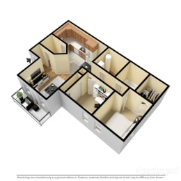 Aspen Villas Apartments 2 Bedroom Floor Plan