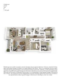Echo Mountain Apartments 2 Bedroom 2 Bathroom Floor Plan