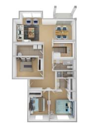 Yarrowood Highlands Apartments 3 Bedroom 2 Bath 3D Floor Plan