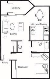 Floor Plan Aspen 1x1 Classic
