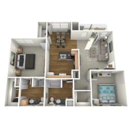 Trove Eastside Apartments Furnished B2 Floor Plan
