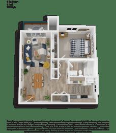 Clover Creek One Bedroom One Bathroom Floor Plan