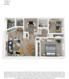 Clover Creek Two Bedroom One Bathroom Floor Plan