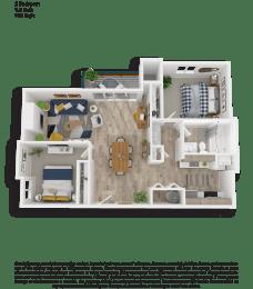 Clover Creek Two Bedroom One and a Half Bathrooms Floor Plan