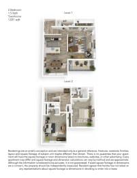 Echo Mountain Apartments 2 Bedroom 1.5 Bathroom Townhome Floor Plan