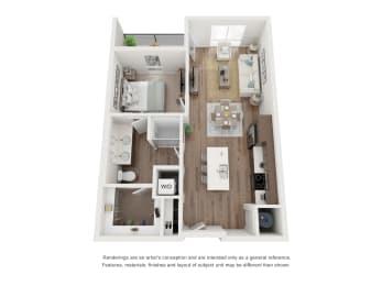 West 38 Apartments One Bedroom One Bathroom A Floor Plan