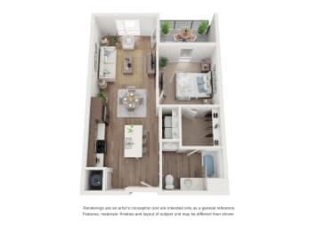 West 38 Apartments One Bedroom One Bathroom B Floor Plan