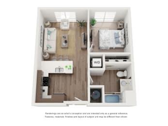 West 38 Apartments One Bedroom One Bathroom D Floor Plan