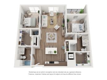 West 38 Apartments Two Bedrooms Two Bathrooms B Floor Plan