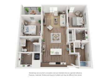 West 38 Apartments Two Bedrooms Two Bathrooms C Floor Plan