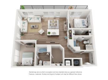 West 38 Apartments Two Bedrooms Two Bathrooms E Floor Plan