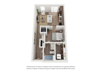 West 38 Apartments Studio B Floor Plan