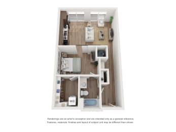 West 38 Apartments Studio E Floor Plan