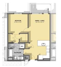 1 Bedroom 1 Bathroom Floor Plan at Park77, Cambridge, Massachusetts