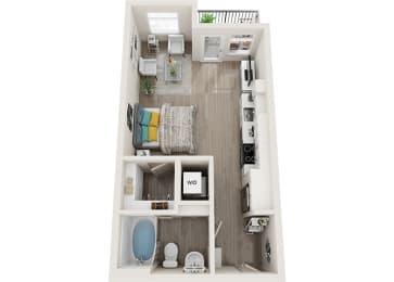 Element 25 apartments S1 studio 3D floor plan