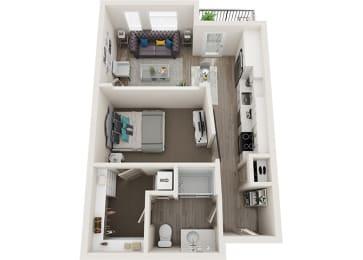 Element 25 apartments A1 1-bedroom 3D floor plan