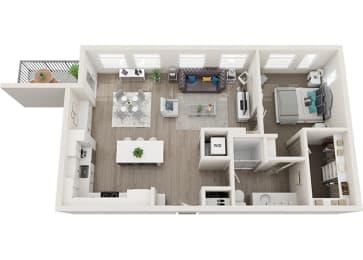 Element 25 apartments A5a 3D floor plan