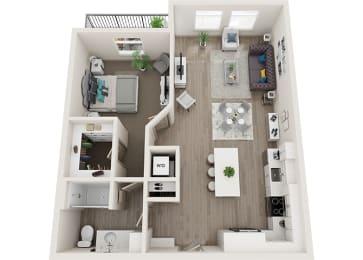 Element 25 apartments A6 1-bedroom 3D floor plan