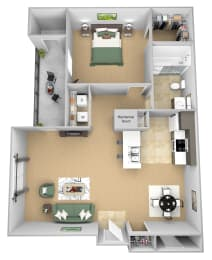Asprey floor plan - A1 Aron - 1 bedroom and 1 bath - 3D Floor Plan