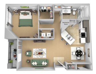 Asprey floor plan - A2 Ascott - 1 bedroom and 1 bath - 3D Floor Plan