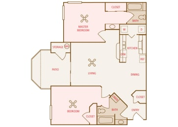 Arrowhead Landing Apartments - B1 (Beacon) - 2 bedrooms and 2 bath