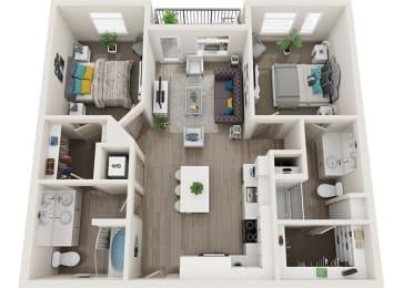 Element 25 apartments B1 2-bedroom 3D floor plan