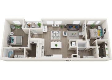Element 25 apartments B3 2-bedroom 3D floor plan