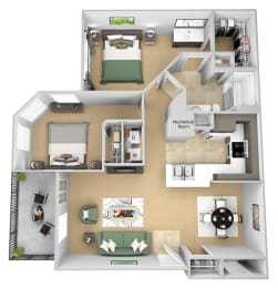 Asprey floor plan - B1 Bond - 2 bedroom and 1 bath -  3D Floor Plan