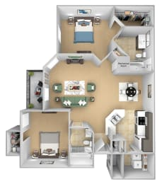 Asprey floor plan - B2 Chelsea - 2 bed 2 bath - 3D Floor Plan