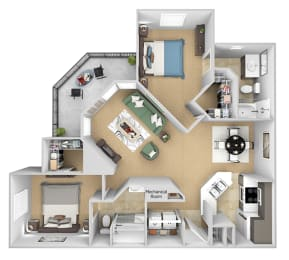 Asprey floor plan - B3 Dover - 2 bedroom and 2 bath - 3D Floor Plan