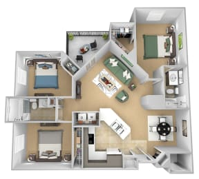 Asprey floor plan - C1 Eric - 3 bedroom and 2 bath - 3D Floor Plan