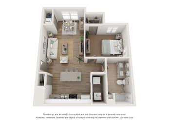 1x1 floor plan with sunroom