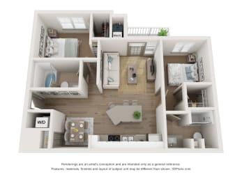 2x2 floor plan with patio