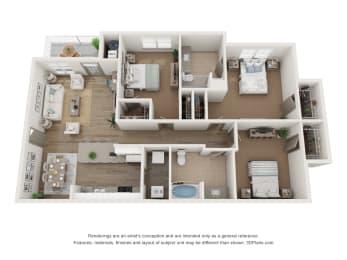 3x2 floor plan with patio
