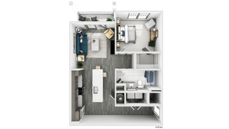 Sidney Floor Plan at The Crest Apartments at Flowery Branch, Flowery Branch