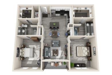 Two-Bedroom Floor Plan at The Mansions McKinney, McKinney, TX, 75070