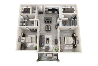 Two-Bedroom Floor Plan at The Mansions McKinney, McKinney, TX