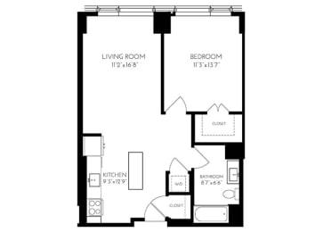 One Bedroom One Bathroom 1 A - 1 ADA Floorplan at The Benjamin Seaport Residences, Boston, MA