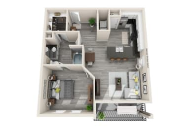 One-Bedroom Floor Plan at The Mansions McKinney, McKinney, Texas